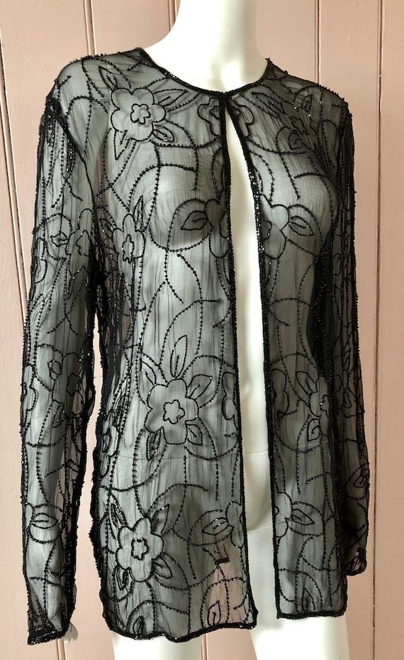 Superb 1920's Silk Chiffon Beaded Jacket - image 3