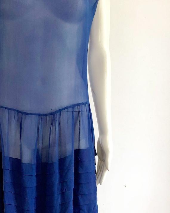 Stunning 1920's Periwinkle Blue Silk Chiffon Dress - image 5