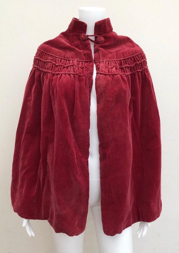 1920's Raspberry Coloured Velvet Cape