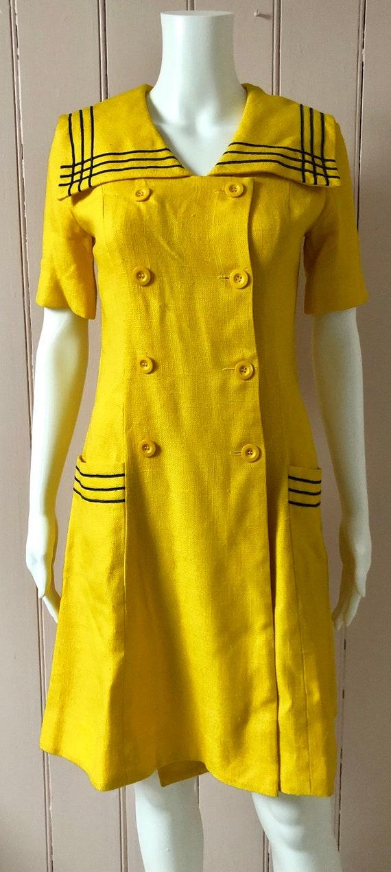 Bright yellow 1960's Wallis Dress - image 3