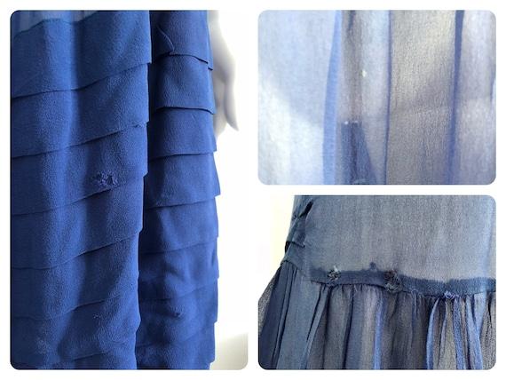 Stunning 1920's Periwinkle Blue Silk Chiffon Dress - image 8