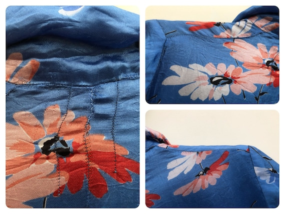 Beautiful 1930's Floral Satin Dressing Gown - image 8