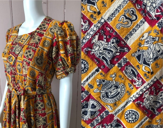 Amazing 1940's Gown Indian Fabric Boho