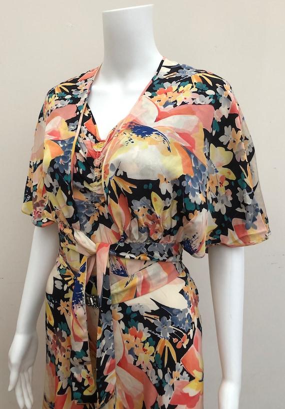 Fantastic 1930's Floral Crepe Gown
