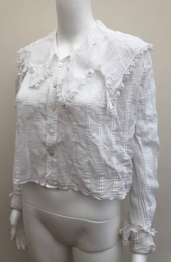 Pretty Edwardian White Cotton Blouse