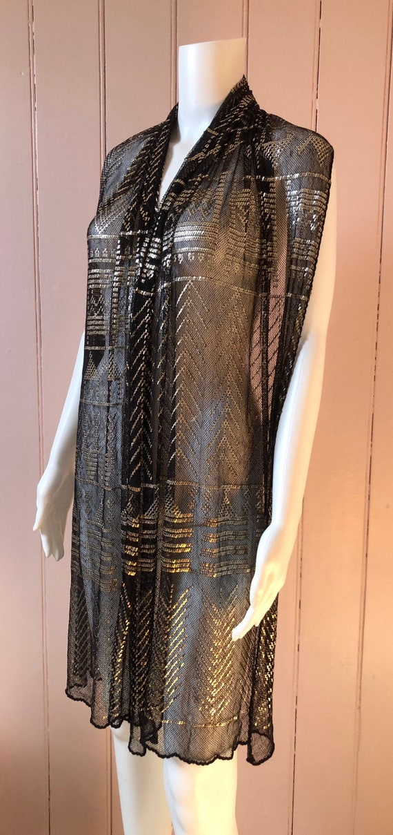 Superb 1920's Black and Silver Assuit Shawl