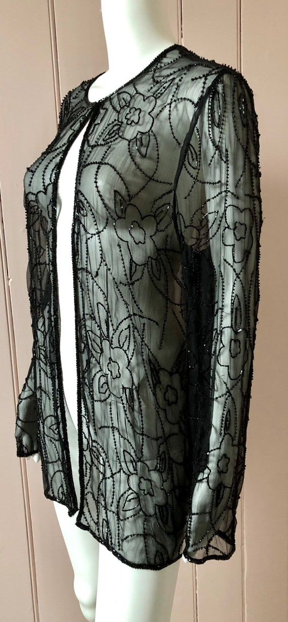 Superb 1920's Silk Chiffon Beaded Jacket