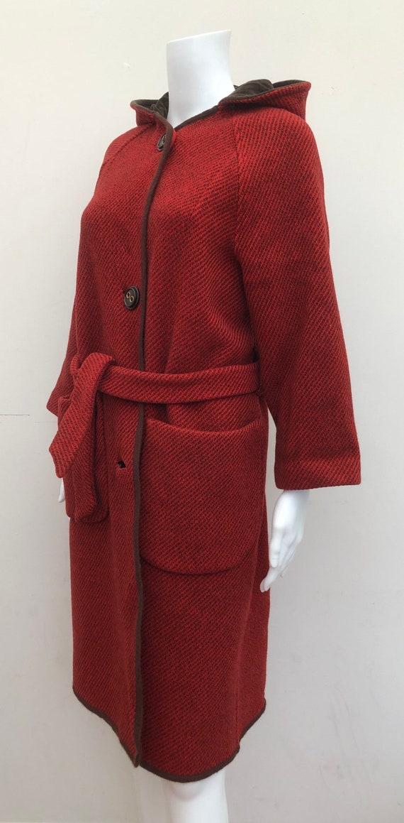 Lovely 1970's Hooded Wool Blanket Coat