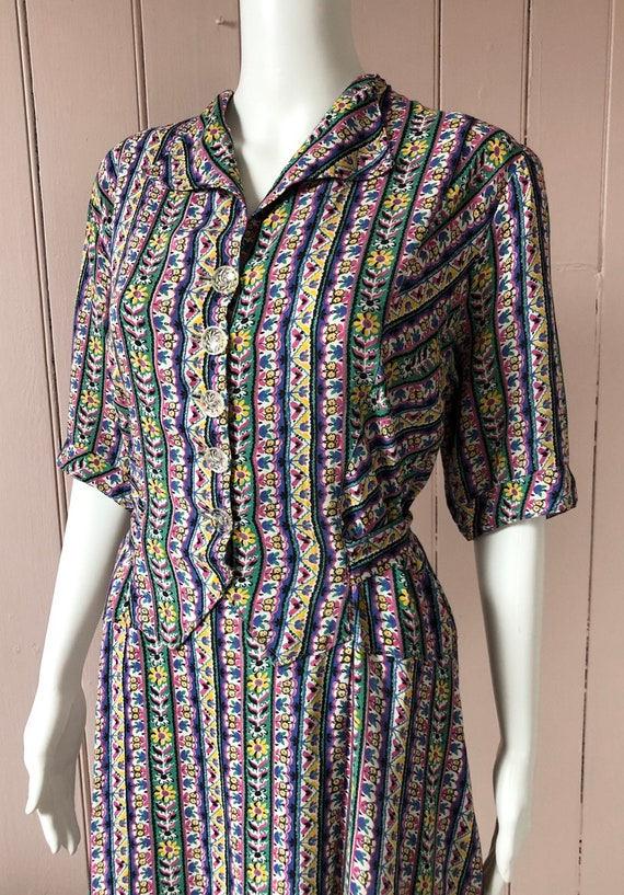Beautiful 1940's Cotton Day Dress
