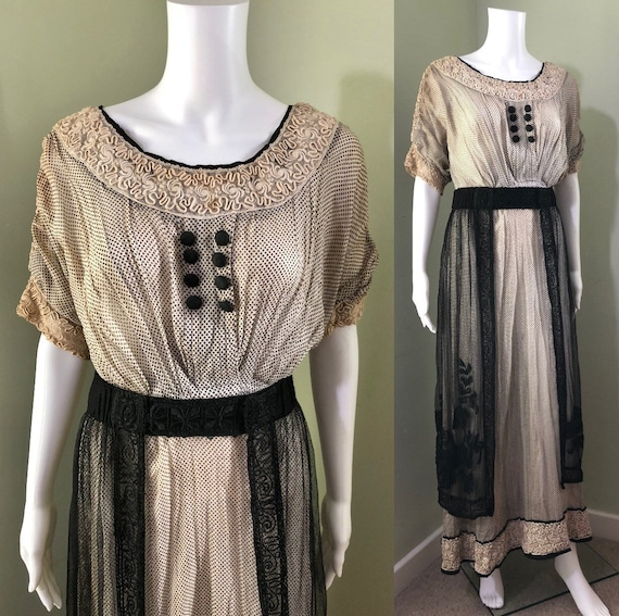 Amazing Edwardian Dress with overskirt