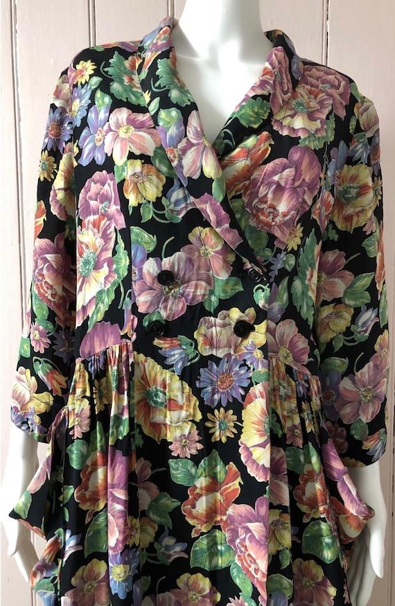 Fantastic 1940's Floral Crepe Housecoat/Dress