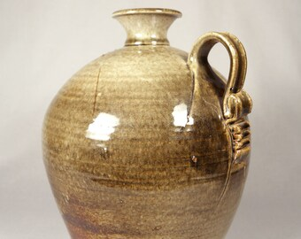 Large Vintage Studio Pottery Handled Jug, signed Cox