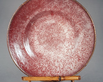 Gorgeous Large Vintage Oxblood, Copper Red, Reduction Red, foamy glaze charger, platter, serving plate, Japan