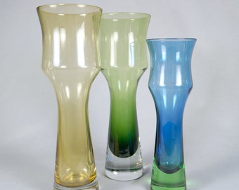 3 Tulip Vases by Tamara Aladin for Riihimaki or Riihimaen Lasi of Finland, design 1373