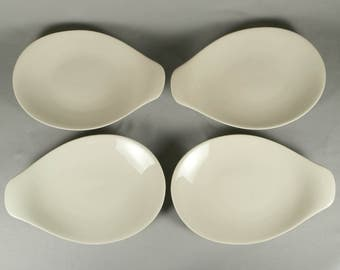 4 Vintage Eva Zeisel Hall 1659, Hallcraft, lug handled plates, 1950s, off-white, bone white, attrib
