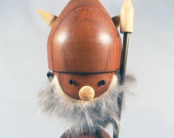 Vintage Teak Viking Figure, Scandinavian Bottle Opener