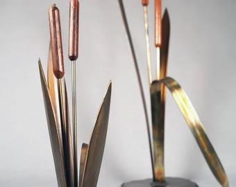 Vintage JHQ, Handmade Cattails sculpture, Wood, Brass, Steel, Stamped IHQ, Dansk?