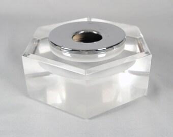 Lucite and Chrome Ashtray, Mod, Hollywood Regency, Dorothy Thorpe
