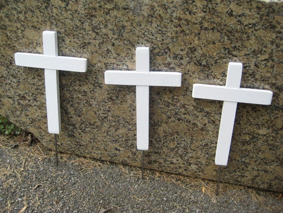 Plain White Memorial Cross Roadside Memorial Pet Cemetery Can Be Decorated Your Way