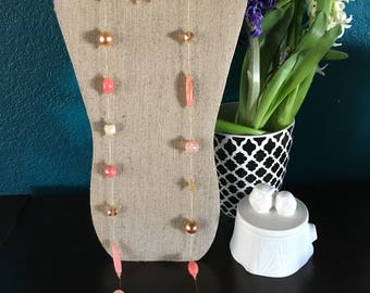 Pink, Gold & Champagne Necklace and Earrings