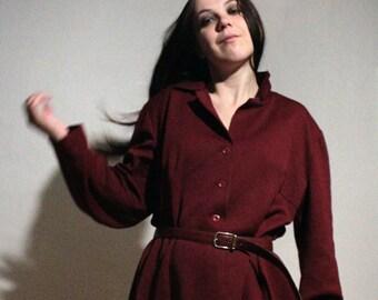 Wool blend fall dress / 70s Long shirt dress / Vintage burgundy red button up dress