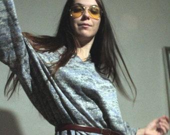 70s Long sleeve fall dress / 1970s Vintage knit dress / Plus size dress