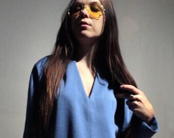 70s vintage fall dress / Sky blue long shirt dress