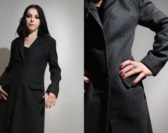 Long Wool Coat / Vintage Minimalist Gray Coat