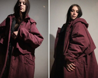 Insulated long fall jacket / Oversized windbreaker jacket / Burgundy hooded parka for men and women plus size