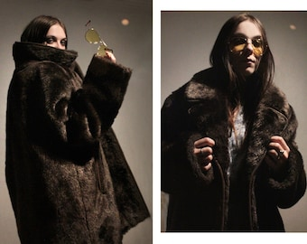 70s Vintage vegan fur / Insulated winter coat / Oversized faux fur puffer coat PLUS SIZE