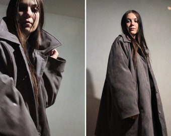 90s Vintage puffer coat / Stone gray insulated jacket with removable layer / Winter coat for men and women plus size
