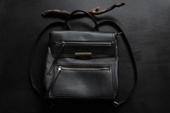 Black Backpack / Faux Leather Travel Bag / Vegan B