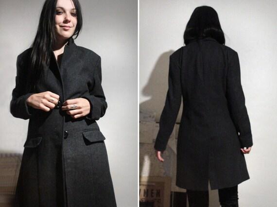 Long Wool Coat / Vintage  Gray Wool Coat / Minimal