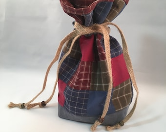 Patchwork pouch upcycled fabric country plaid drawstring bag