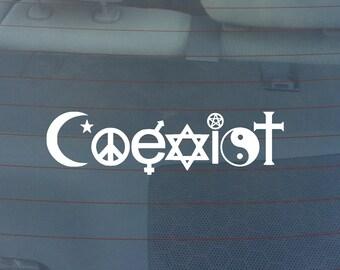 Coexist Religion Bumper Sticker / Window Decal