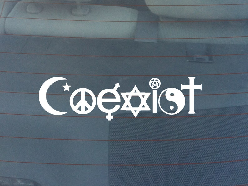 Coexist Religion Bumper Sticker / Window Decal image 0