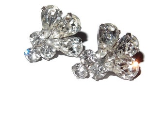 Clear Rhinestone Fan Screwback Earrings