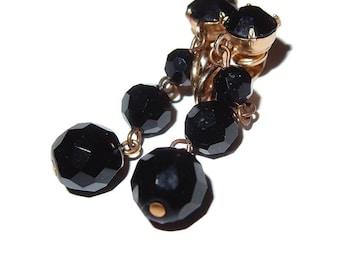 Black Glass Facet Bead Dangle Clip-on Earrings