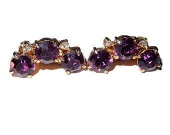 Purple Rhinestone Vintage Clip-on Earrings