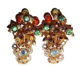 Interesting Coral and Lemon Crystal Floral Earrings