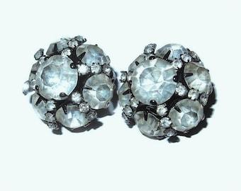 DOMED Clear Rhinestone Vintage Earrings in Schreiner Style