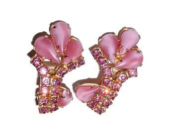 Pink Rhinestone and Moonstone Vintage Clip-on Earrings