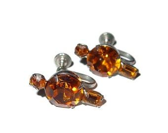Small Gold Rhinestone Screw-back Earrings