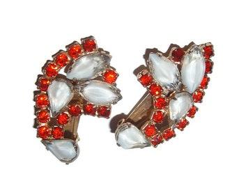 RARE Orange and White Art Glass Vintage Earrings