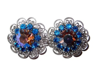 Heart Shaped Scrollwork Earrings Surround Blue Rhinestones with Aurora Borealis Centers