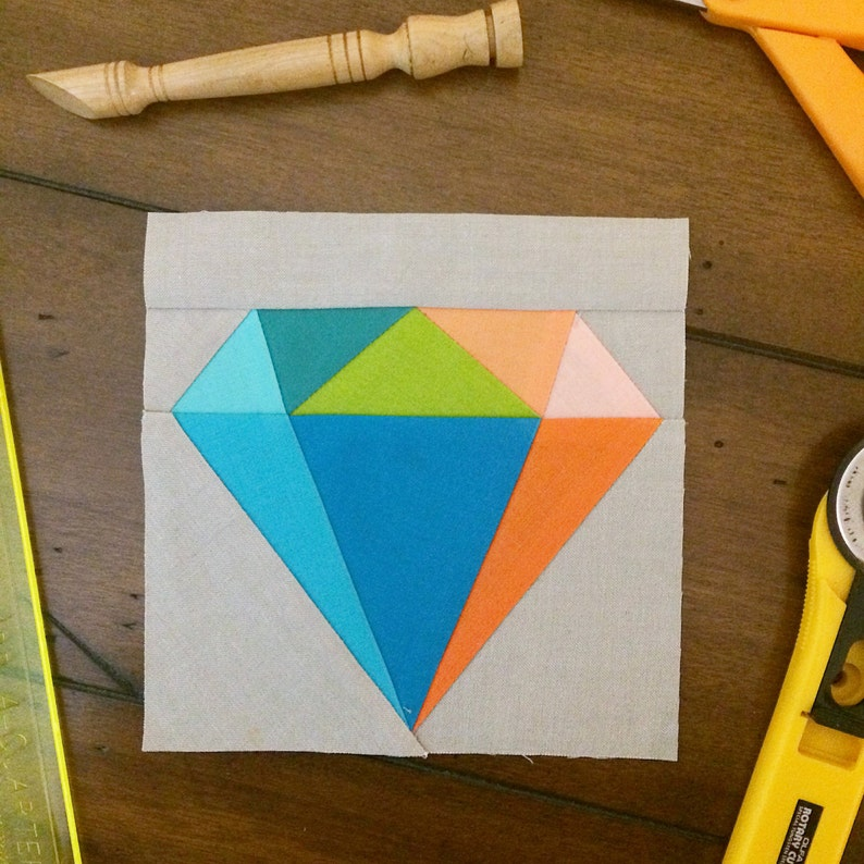 Gemology Quilt Block  Diamond Paper Pieced Block Pattern image 0