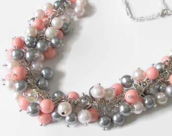 and Everyday Use Birthday Gift Prom Genuine Grey Crystal and Pearl Necklace 15 Crystal Jewelry for Wedding Gray