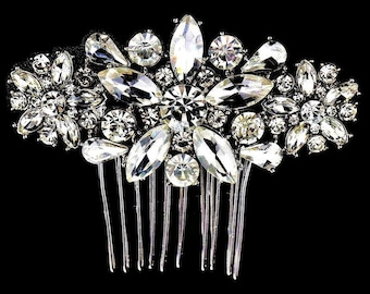 Beautiful Diamante Hair Comb Slide with Pearls and Crystals in Gold Tone 8 cms