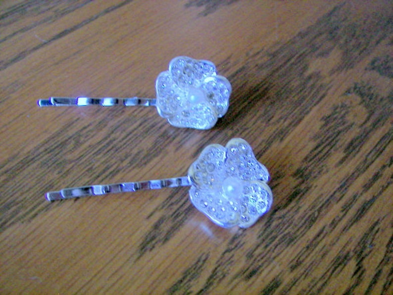 Wedding Hair Pins Silver Flower Bobby Pins Pave Flower and Pearl Hair Clips Flower Girl Hair Pins 2 Bridal Hair Pins Fancy Bobby Pins