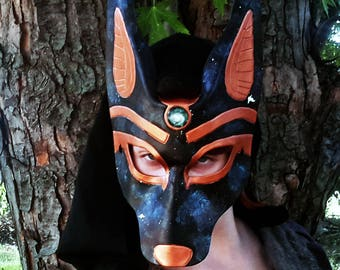 anubis leather mask masquerade costume egyptian jackal god ready to ship